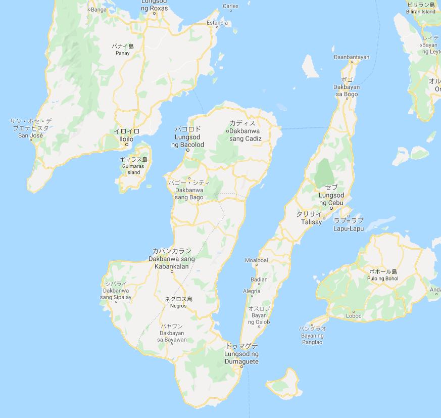 イロイロとバコロドとセブとボホールのグーグルマップ